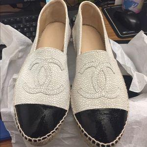 Chanel Crackled Leather Espadrilles